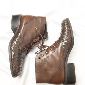 Vintage Brown Woven Leather Lace Up Boots